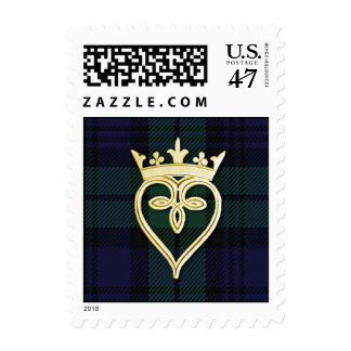 Elegant Black Watch Plaid Wedding Stamp