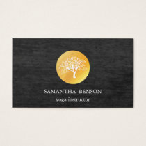 Elegant Black Watercolor Tree Yoga and Meditation Business Card