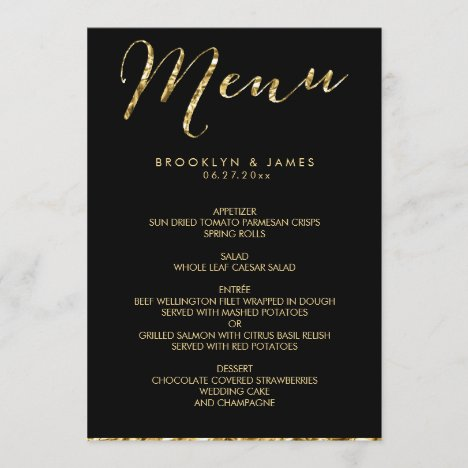 Elegant Black Wedding Menu With Gold Foil