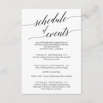 Elegant Black Wedding Weekend Schedule of Events Enclosure Card