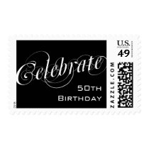 Elegant Black & White 50th Birthday Custom Postage
