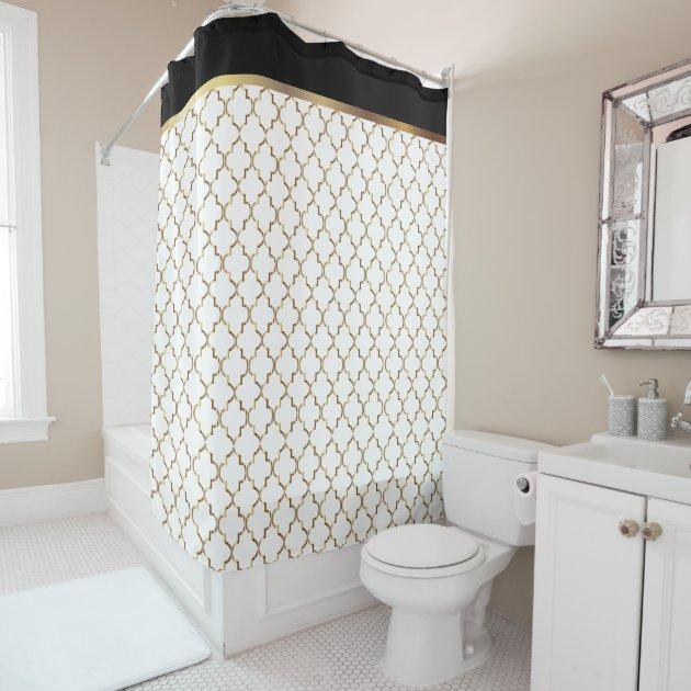 Quatrefoil Shower Curtain Polyester Fabric Black Gold Colors Bathroom Design New