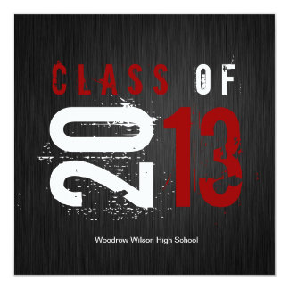 Elegant Black, White and Red Class of 2013 Card
