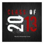 Elegant Black, White and Red Class of 2013 Custom Invites