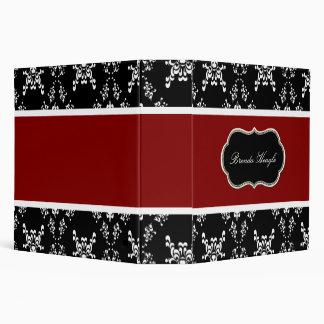 Elegant Black, White, and Red Damask Binder