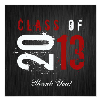 Elegant Black, White and Red Graduation Thank You Card