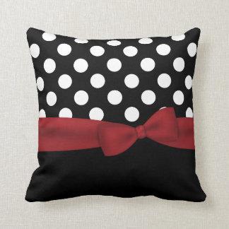 Elegant Black, White, and Red Monogram Pillow