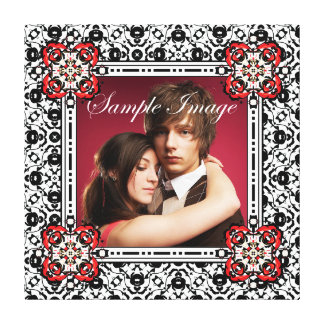 Elegant Black, White and Red Wedding Photo Frame Canvas Print