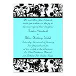 Elegant Black, White, and Teal Wedding Invitation