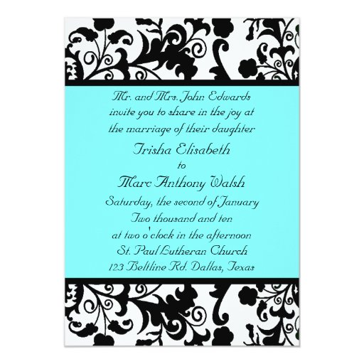 elegant black white and teal wedding invitation zazzle With black white and teal wedding invitations