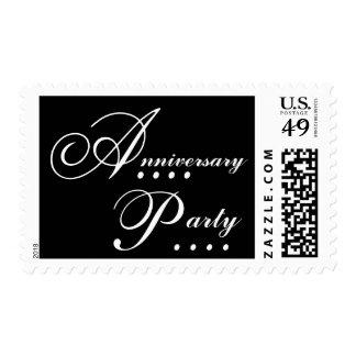 Elegant Black White Anniversary Party Invitation Postage