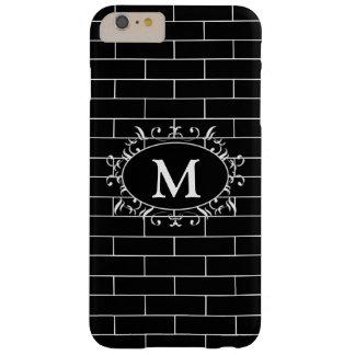 Elegant Black & White Brick Pattern with Monogram Barely There iPhone 6 Plus Case