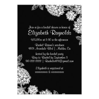Elegant Black White Bridal Shower Invitations Custom Invitation