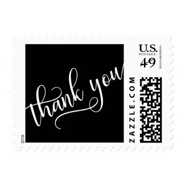 Elegant Black White Calligraphy Script THANK YOU Postage