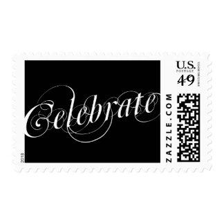 Elegant Black & White Celebrate Postage