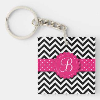 Elegant Black White Chevron Monogram Girly Pink Keychain