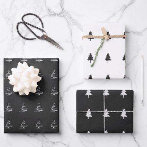 Elegant Black White Christmas Tree Pattern Gift Wrapping Paper Sheets