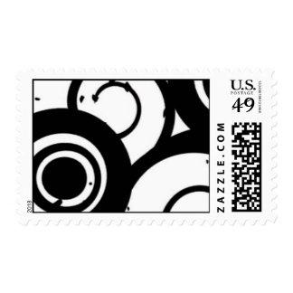 Elegant Black & White Circles Postage Template