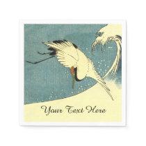 Elegant Black White Crane Flying over Ocean Wave Napkin