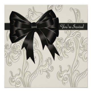 Elegant Black White Cream Swirl Party Invitation