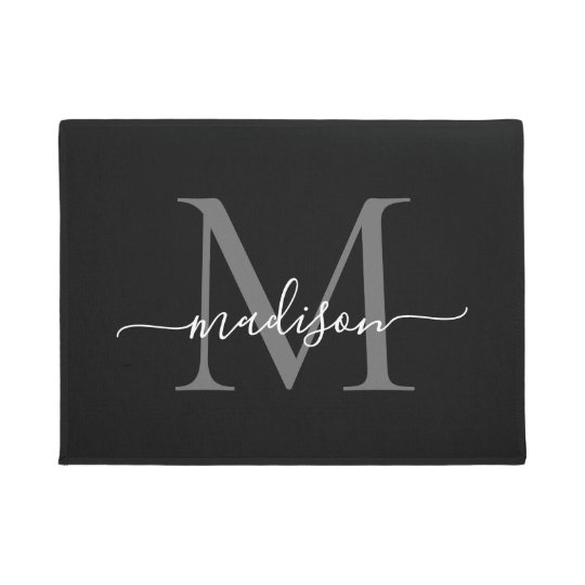 Elegant Black White Custom Monogram Script Name Doormat