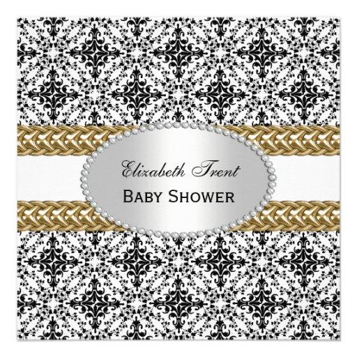 elegant black white damask 2 gold baby shower 2 square