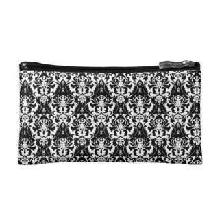 Elegant Black & White Damask Cosmetic Bag