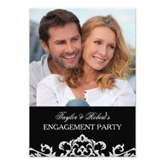 Elegant Black & White Damask Engagement Party Card