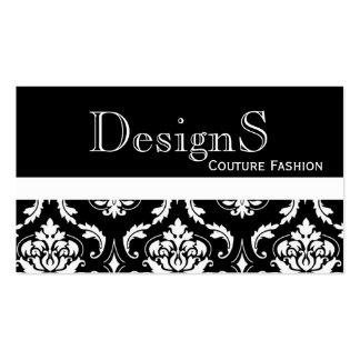 Elegant Black White Damask Fashion Business Card