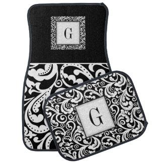 Elegant black, white damask floral monogram floor mat