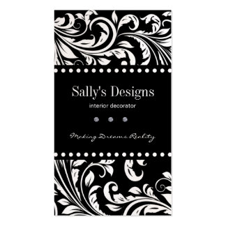 Elegant Black & White Damask Interior Designer Business Card Template