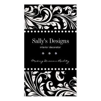 Elegant Black & White Damask Interior Designer Double-Sided Standard Business Cards (Pack Of 100)