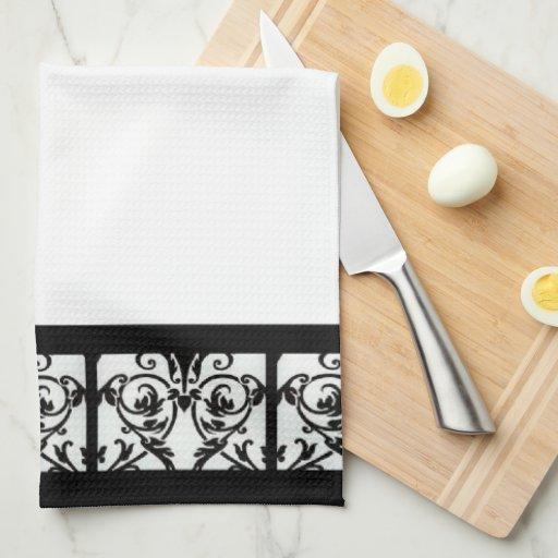Elegant Black & White Damask Kitchen Towel