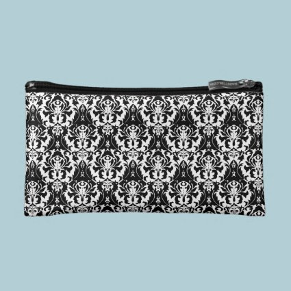 Elegant Black & White Damask Makeup Bag