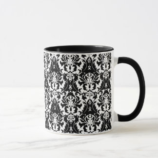 Elegant Black & White Damask Mug