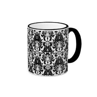 Elegant Black & White Damask Ringer Coffee Mug