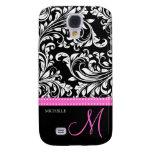 Elegant Black & White Damask Pattern with Monogram Galaxy S4 Cases