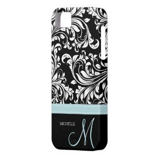 Elegant Black White Damask Pattern with Monogram iPhone 5 Covers