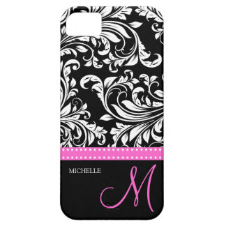 Elegant Black & White Damask Pattern with Monogram iPhone 5 Cases