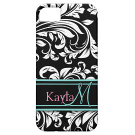 Elegant Black & White Damask Pattern with Monogram iPhone 5 Case