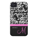 Elegant Black & White Damask Pattern with Monogram iPhone 4 Cover