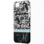 Elegant Black & White Damask Pattern with Monogram iPhone 5C Cases