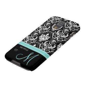 Elegant Black & White Damask Pattern with Monogram Galaxy S5 Case