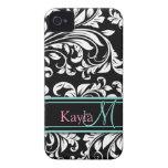Elegant Black & White Damask Pattern with Monogram iPhone 4 Case