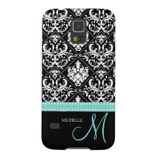 Elegant Black & White Damask Pattern with Monogram Galaxy S5 Cover