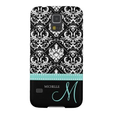 Elegant Black & White Damask Pattern with Monogram Galaxy S5 Cover