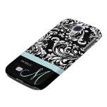 Elegant Black & White Damask Pattern with Monogram Samsung Galaxy S4 Case
