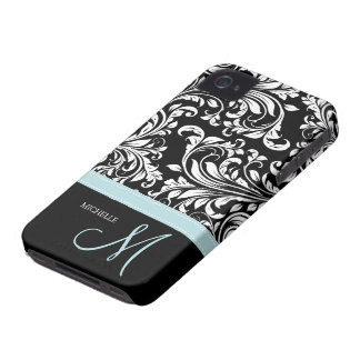 Elegant Black & White Damask Pattern with Monogram Case-Mate iPhone 4 Case