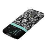 Elegant Black & White Damask Pattern with Monogram Cases For Galaxy S5