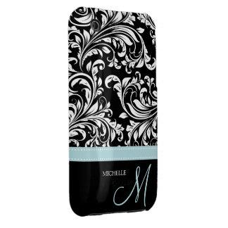Elegant Black & White Damask Pattern with Monogram iPhone 3 Case